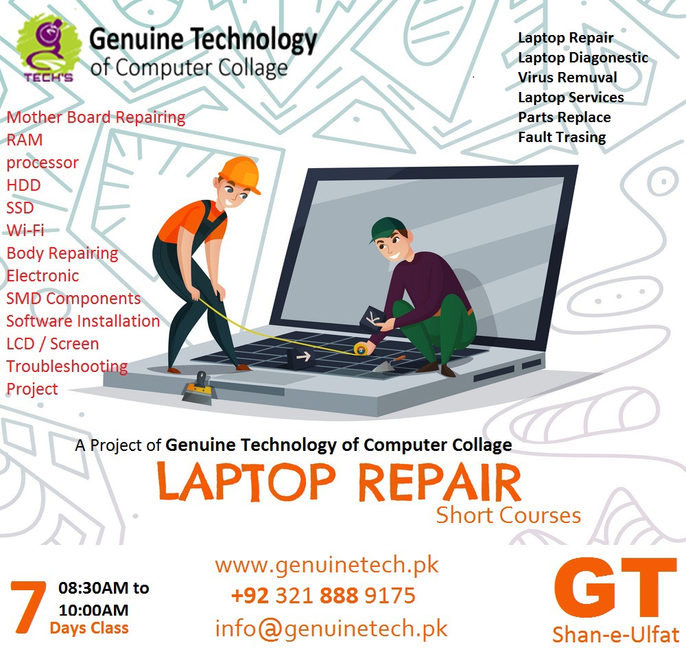 Laptop Repairing Short Course in Pakistan from shan