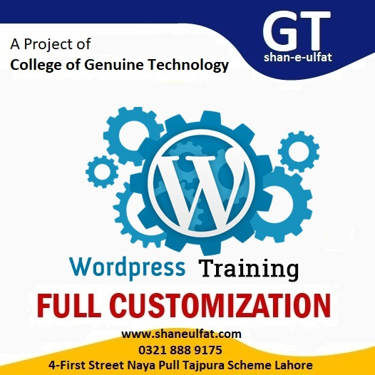 Learn WordPress Trainings Courses in Lahore WordPress Full Customization Trainings Short Course by shan-e-ulfat