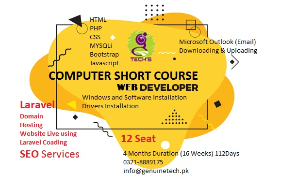 computer short course for Web Development from College of Genuine Technology from shan