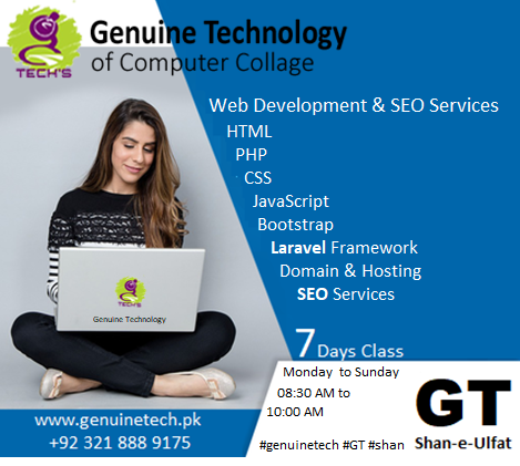 Web site development computer short course in Pakistan by GT by shan-e-ulfat