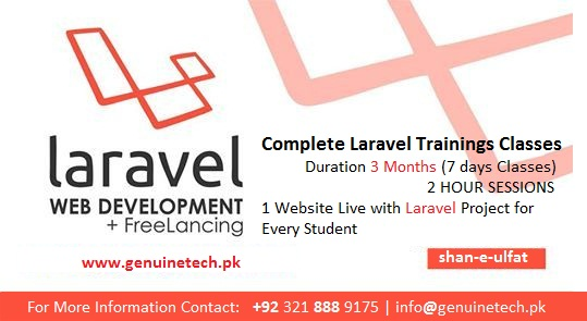 Advance php with Laravel Trainings in Lahore from shan